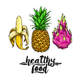 Set of colorful fruits: banana, pineapple, dragonfrut with the inscription healthy food. Elements for design, poster Stock Photo
