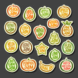 Set colorful Fruits Jam icons Royalty Free Stock Photography