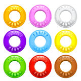 Set of Colorful Fruity Flavored Ring Shaped Candy Stock Images