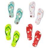 Set of colorful fun flip flops Stock Photos