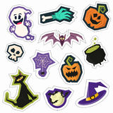 Set of colorful fun halloween party pin badges. Collection of br Royalty Free Stock Photography