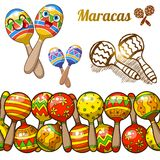 Set of colorful fun maracases Royalty Free Stock Images