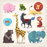 Set of colorful funny cartoon animals from a zoo. Isolated vector elements Royalty Free Stock Photo