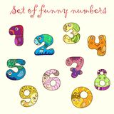 Set of colorful funny figures (numbers). Set of unique hand-drawn colorful funny figures (numbers) with eyes and hands Stock Photos