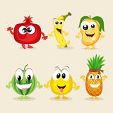 Set of colorful funny fruit characters. Royalty Free Stock Photo