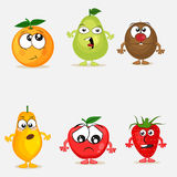 Set of colorful funny fruits with different facial expression . Royalty Free Stock Images
