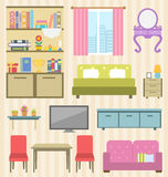 Set of Colorful Furniture of Room for Your Interior of Apartment Royalty Free Stock Image