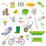 Set of colorful gardening icon Royalty Free Stock Images