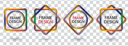Set colorful geometric frames on a transparent background. Vector Stock Photo