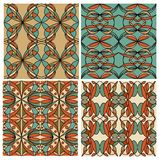 Set of colorful geometric patterned tiles in nostalgic retro colors, art deco style. Graphic design element in vector EPS 10. Stock Photo