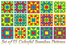 Set of 15 colorful geometric seamless patterns. Set of 15 abstract colorful geometric seamless patterns with triangles and squares of red, blue, green and Stock Image