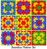 Set of 9 colorful geometric seamless patterns with rhombus and squares Stock Photo