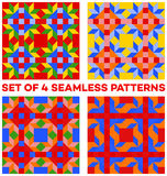 Set of 4 colorful geometric seamless patterns with rhombus, triangles and squares of blue, green, orange, yellow and red shades Stock Photos