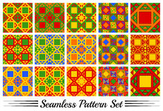 Set of 15 colorful geometric seamless patterns with triangles and squares Royalty Free Stock Images