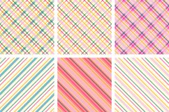 Set of colorful geometric seamless patterns. Royalty Free Stock Photos