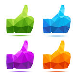Set of colorful geometric thumb up icons Stock Images