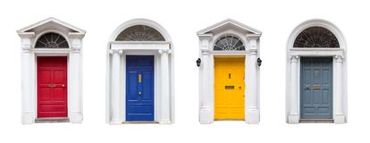 Set of colorful Georgian style doors in Dublin, Ireland royalty free stock image
