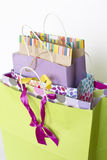 A set of colorful gift bags. A set  of colorful gift bags background Royalty Free Stock Photos
