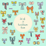 Set of colorful gift bows with ribbons. Set of 30 handdrawn vintage bows with ribbons. Vector illustration eps 10 Royalty Free Stock Photography
