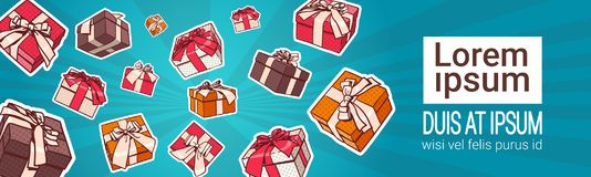Set Of Colorful Gift Box Pop Art Retro Style Of Presents With Ribbon And Bow On Background With Copy Space. Vector Illustration Stock Photos