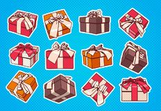 Set Of Colorful Gift Box Pop Art Retro Style Of Presents With Ribbon And Bow On Blue Background. Vector Illustration Royalty Free Stock Photo