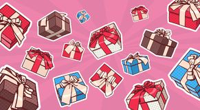 Set Of Colorful Gift Box Pop Art Retro Style Of Presents With Ribbon And Bow On Dots Background Royalty Free Stock Photo