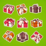 Set Of Colorful Gift Box Pop Art Retro Style Of Presents With Ribbon And Bow On Dots Background. Set Of Colorful Gift Box Pop Art Retro Style Of Presents With Royalty Free Stock Images