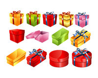 Set of colorful gift boxes with bow illustration.Gift box vector. Royalty Free Stock Photography
