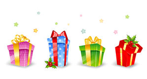 Set of colorful gift boxes with bows Stock Image