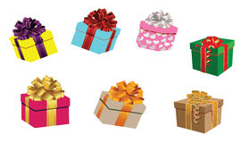 Set of colorful  gift boxes Stock Photos