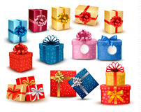Set of colorful gift boxes with bows and ribbons Royalty Free Stock Photos