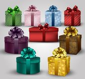 Set of colorful gift boxes with bows and ribbons background. Illustration of set of colorful gift boxes with bows and ribbons background Royalty Free Stock Images