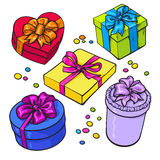 Set of colorful gift boxes with bows and ribbons. Cartoon style vector illustration isolated on white background. Xmas, birthday, Valentine presents, gifts Royalty Free Stock Photos