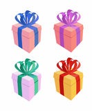 Set of colorful gift boxes with bows and ribbons. Vector illustr Royalty Free Stock Image