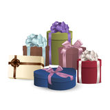 Set of colorful gift boxes with bows and ribbons. Stock Photography