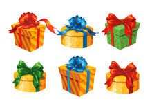 Set of colorful gift boxes with bows and ribbons. Vector illustration. Royalty Free Stock Photo
