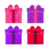 Set of colorful gift boxes with bows. Romantic concept. Vector illustration Stock Images