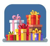 Set of colorful gift boxes with bows. Vector Royalty Free Stock Photo