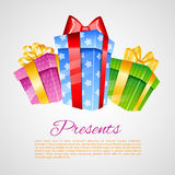 Set of colorful gift boxes with bows Royalty Free Stock Image