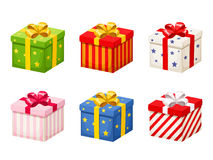 Set of colorful gift boxes with bows. Vector illustration. Stock Photos