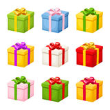 Set of colorful gift boxes with bows. Vector illustration. Royalty Free Stock Images