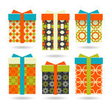 Set of colorful gift boxes. Set of bright boxes for gifts Stock Photography