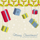 A set of colorful gift boxes christmas card Royalty Free Stock Photography