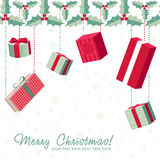 A set of colorful gift boxes christmas card Royalty Free Stock Photos