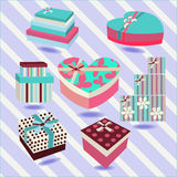 Set of colorful  gift boxes - Illustration Stock Images