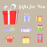 Set of colorful gift boxes and ribbons Royalty Free Stock Images