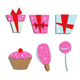 Set of colorful gift boxes and sweets Stock Photos