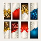 Set of colorful Gift cards with gift bows Royalty Free Stock Image