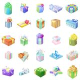 Set of colorful gift packages with various ornaments and picture Royalty Free Stock Image