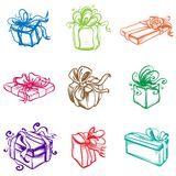 Set of colorful gift packages with various ornaments and picture Royalty Free Stock Photo